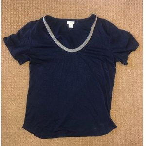 J. Crew soft Tshirt with silver details